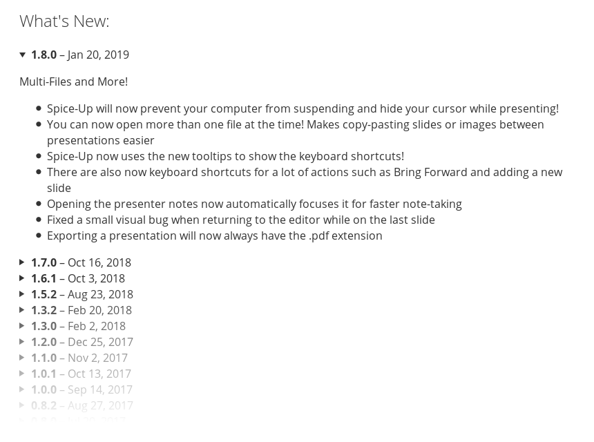 Example of release notes on the AppCenter website