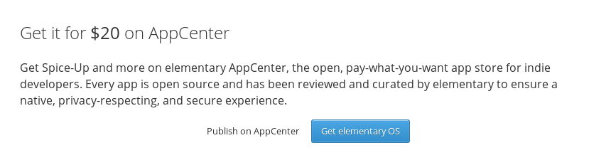 "Example of the new ""Get it on AppCenter"" section, including pricing"