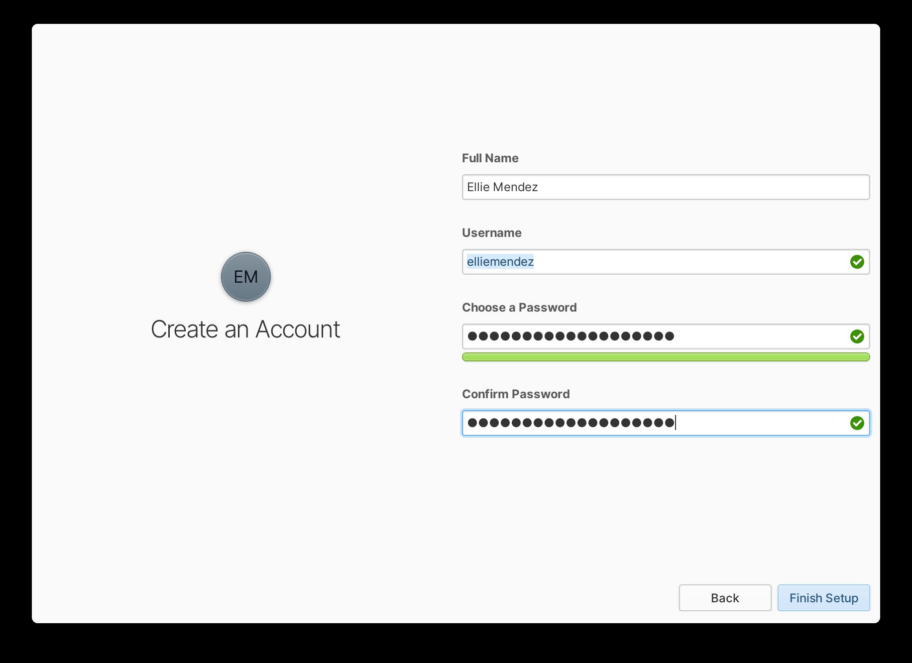 Página de usuario de configuración inicial