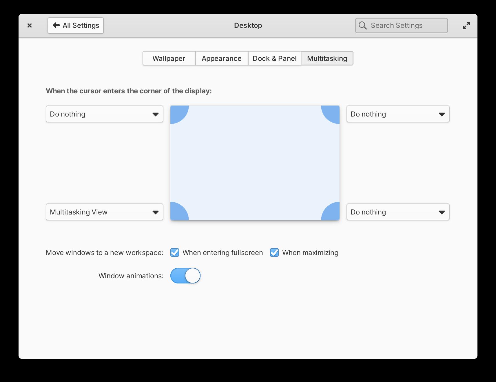 Configuración de escritorio multitarea