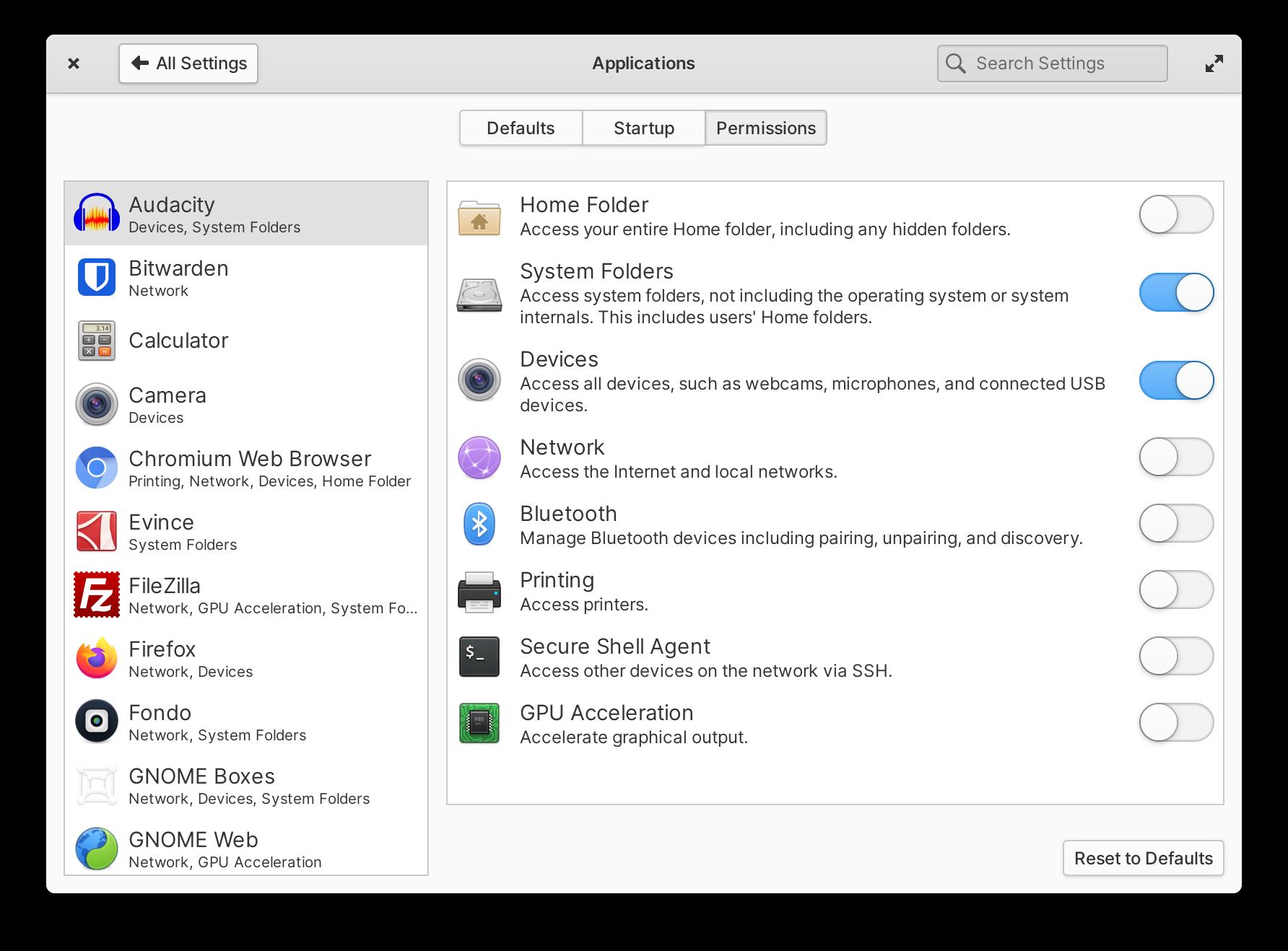 Configuración de permisos de aplicaciones