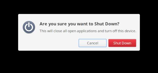Shut Down dialog