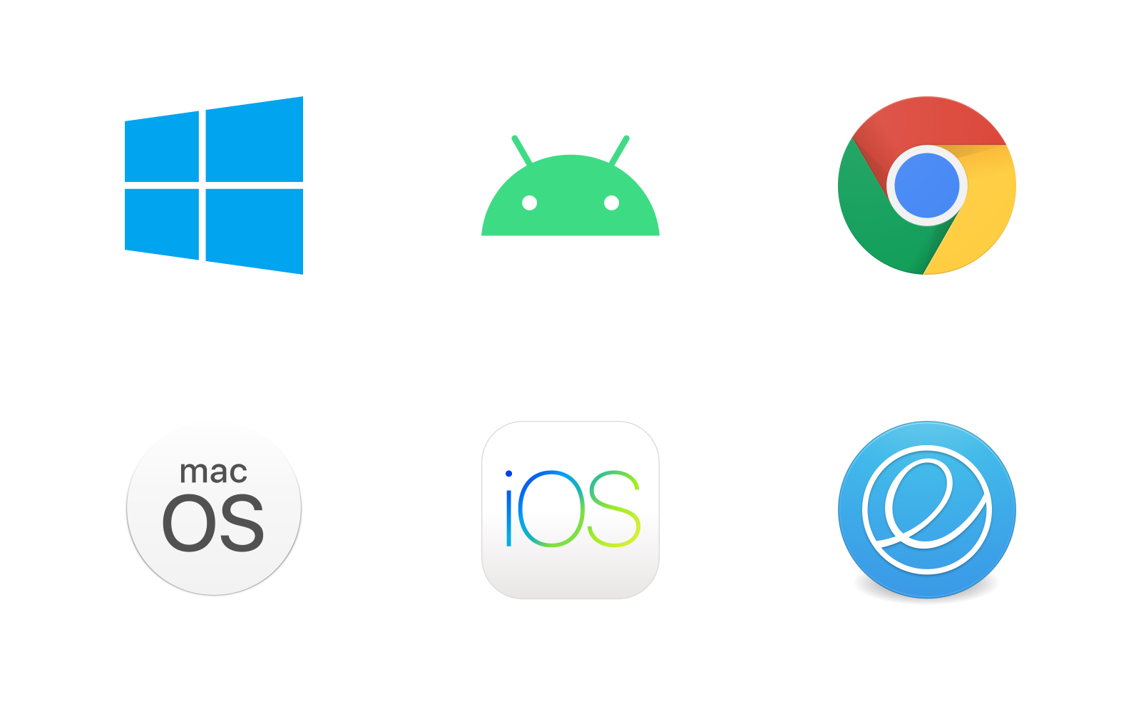 Logos of Windows, Android, Chrome OS, macOS, iOS, and elementary OS