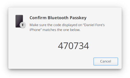 Bluetooth pairing agent passkey dialog